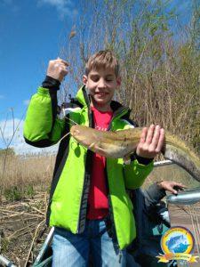 Небольшой сом на первой рыбалке
